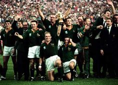 The Springbok's victory over New Zealand in the final of the Rugby World Cup at Ellis Park in Johannesburg 24 June 1995 was a defining moment in SA history. Rugby Quotes, Nz All Blacks, Young Blood, Rugby World Cup, People Of Interest, American Sports, Rugby Players, Champions, African History