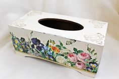 Shabby chic Tissue box cover, wooden decoupage box, tissue box holder,shabby chic home decor accessories, home decorations by BellesAmiesDecor on Etsy