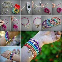 """<input class=""""jpibfi"""" type=""""hidden"""" >Bracelet is a nice way to highlight your fashion style. Making your own bracelets can be easy and fast. Here is a nice tutorial on how to make wrap bangles. Just find some plain metal bangles and wrap them with&hellip; Hippie Chic, Hippie Mode, Hippie Vibes, 70s Hippie, Hippie Fashion, Hippie Style, Diy Fashion, Hippie Outfits, Diy Jewelry"""