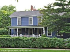Blue-Purple Exterior paint paired with white trim for a clean fresh look