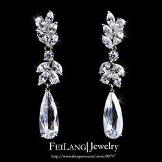 White Gold Plating Austrian Flower Shape Zircon Water Drop Crystal Pendant Drop Earrings For Bride Jewelry (FSEP050)-in Drop Earrings from J...