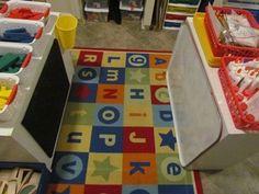 Classroom Organization - I like the idea of a whiteboard or felt board on the back of a shelf!