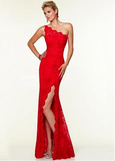 Charming Lace One Shoulder Neckline Floor-length Sheath Prom Dress