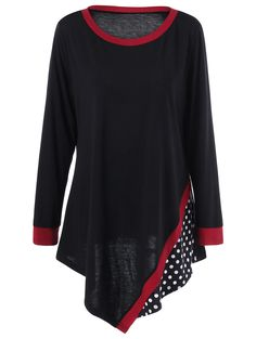 Plus Size Polka Dot Asymmetric Tunic T-Shirt