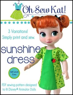 Oh Sew Kat Sunshine Dress Doll Clothes Pattern Disney Animator Dolls | Pixie Faire