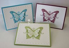 Butterfly cards. Love this! Try with PTI butterfly dies. Love the look of the stamped pattern on them.