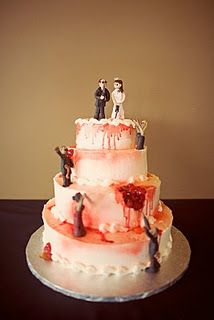 Zombie Wedding Cake Toppers and Cakes Redneck Wedding Cakes, Zombie Wedding Cakes, Themed Wedding Cakes, Cool Wedding Cakes, Wedding Cake Toppers, Zombie Cakes, Scary Cakes, Bad Cakes, Horror Wedding
