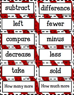 Free Key Words Subtraction Addition