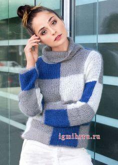 Мягкий мохеровый пуловер в клетку. Вязание спицами