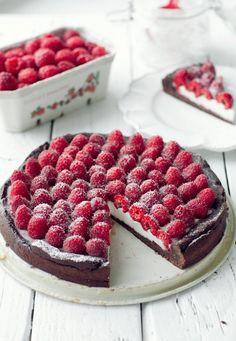Chocolate Tart with Panna Cotta and Raspberries | Kwestia Smaku [Original recipe in Polish]