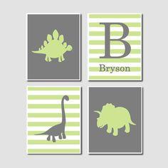 Dinosaur Silhouette Green Grey Gray Monogram by LovelyFaceDesigns, $40.00