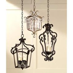 Update traditional decor with the sophisticated style of this oil-rubbed bronze mini chandelier. 19 high min x 97 high max x 11 wide x canopy is wide x hang weight 5 lbs. Style # at Lamps Plus. Decor, Lamp, Pendant Chandelier, French Chandelier, Light, Pendant Lighting, Goth Home Decor, Chandelier, Iron Lighting Fixtures