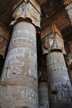 Hypostyle Columns of Medinet Habu, the name commonly given to the Mortuary Temple of Ramesses III, an important New Kingdom period structure in the location of the same name on the West Bank of Luxor in Egypt. Wikipedia