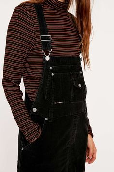 "california-diamond: "" Urban Outfitters Vintage Re-Made Black Cord Dungarees @URBAN OUTFITTERS """