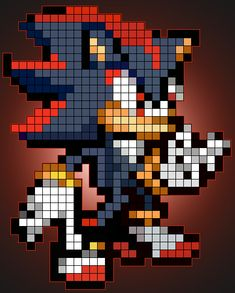 Shadow the Hedgehog pixel art | Shadow The Hedgehog Pixel Art by Candy-Valentine on deviantART