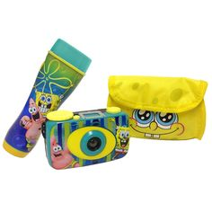 SpongeBob Squarepants Flashlight  and Camera Kit. Let your child enjoy the world of exploration with this SpongeBob Squarepants Flashlight and Camera Kit. The Kit includes a Focus Free 35 mm Camera ,small enough for little hands,a Flashlight that Illuminates 10 Feet,so they don't run into any jellyfish, and a Camera Case for easy handling. (Batteries are not Included)