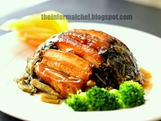 The Informal Chef: Pork Belly with Preserved Mustard Greens (Mui Choy Kau Yoke) 梅菜扣肉 Pan Am, Cooking Mustard Greens, Cantonese Food, Braised Pork Belly, Mushroom Dish, Pork Belly Recipes, Cooking Green Beans, How To Cook Lobster, Asian Kitchen