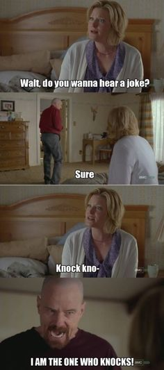 Breaking Bad Knock Knock Joke So funny! Breaking Bad Funny, Serie Breaking Bad, Breaking Bad Quotes, Walter Jr Breaking Bad, Breaking Bad Tattoo, Funny Jokes To Tell, The Funny, Hilarious, Breking Bad