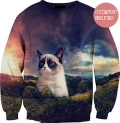 Grumpy Cat in Space 3D Sweatshirt