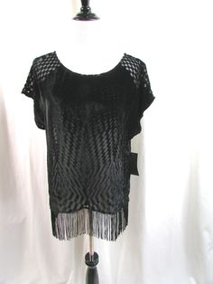 Ella Moss Black Fringe Top Blouse Burnout Silk Blend Velvet Geometric Large NWT #EllaMoss #Blouse #Casual
