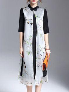 Half Sleeve Floral Casual Silk Midi Dress