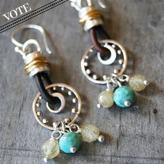 Hi Pinterest Friends.   Vote if you like these earrings! Silver & Leather Earrings by Tracy Statler with Nina Designs.  http://www.facebook.com/ninadesigns/app_160731467314127