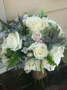 wedding bouquet with roses and queen annes lace from The Flowergirl