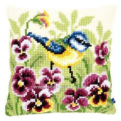 Buy Blue Tit and Pansies Cushion Front Chunky Cross Stitch Kit Online at www.sewandso.co.uk
