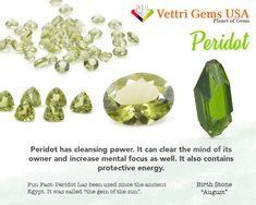 Peridot is a birthstone of August. Peridot has the ability to cleanse its owner mind. Vettri Gems USA is a colored stone and natural stone dealer and manufacture from Alexandrite-Zircon. As a member of ICA (International Colored Gemstones Association), we are proud of our high quality product and reliable service. Your satisfaction matters most. #gemstonesmeanings #naturalgems #naturalstones #vettrigemsusa #wholesalegems Diy Crystals, Crystals And Gemstones, Natural Gemstones, Healing Gemstones, Healing Crystals, Grana Extra, Diy Jewellery Designs, Paparazzi Consultant, Wedding Parties