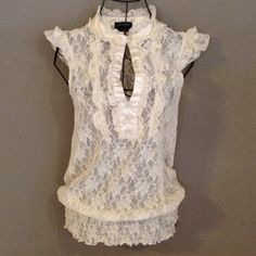 SAM & MAX Lace Top with Satin Trim & Pearl Buttons Really feminine and sexy-flirty ivory top. Gathered stretchy waist with cap sleeves, mother of pearl look buttons, and fantastic satin trim. Love the Victorian vibe, too! No pulls,mistakes, spots, or tears. EUC. Price firm. Sam & Max Tops Blouses