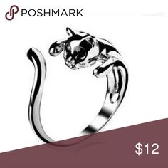 New silver cat ring Silver plated stylish cat ring. Adjustable size. Don't be afraid to make an offer. Bundle for a better price :) Jewelry Rings