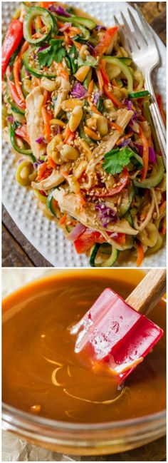 Mixing up weeknight dinners with this wildly flavorful and healthy Asian inspired peanut chicken and veggies dish! Recipe on sallysbakingaddic. Zoodle Recipes, Spiralizer Recipes, Veggetti Recipes, Easy Healthy Dinners, Weeknight Dinners, Healthy Recipes, Tofu Recipes, Clean Eating Recipes, Healthy Eating
