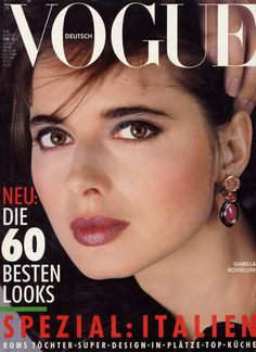 Isabella Rosellini covers  German Vogue - Italian fashion issue August 1986