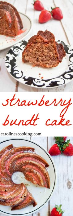This strawberry bundt cake is made from scratch with no gelatin. Light, full of delicious strawberry flavor and topped with a beautiful strawberry-lemon glaze. Perfect for sharing with guests over the holiday season. #SundaySupper #FLStrawberry @Flastrawberries