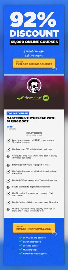 Mastering Thymeleaf with Spring Boot Web Development, Development #onlinecourses #LessonPlans #onlineeducationtipsBecome an expert using Thymeleaf Templates with Spring Boot Thymeleaf is a highly popular templating engine to use with Spring MVC to produce rich, and dynamic web pages. Unlike other options available for Java and Spring Boot, Thymeleaf has a natural templating language - meaning yo...