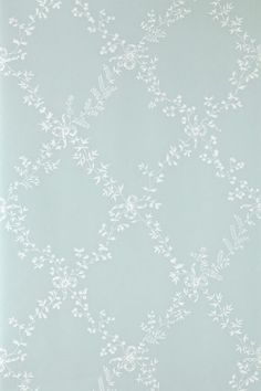 Toile Trellis (BP 669) - Farrow & Ball Wallpapers - A quiet nostalgic design featuring delicate leaf motifs and romantic bows. Showing in white on duck egg blue water based paints - more colours are available. Please request a sample for true colour match.