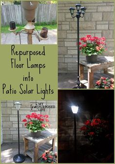 My Repurposed-Life ~ Turn Floor Lamps into Patio Lights Using Solar Lights