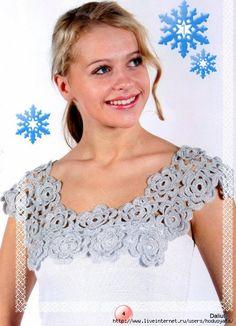 "Photo from album ""Pacios 2008 воротнички"" on Yandex. Crochet Fabric, Crochet Stitches, Crochet Top, Crochet Collar, Lace Collar, Crochet Fashion, Rubrics, My Images, Beautiful"