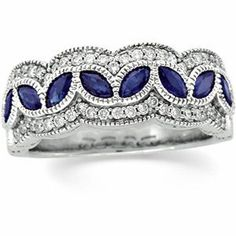 Antique Style Genuine Sapphire and Diamond Anniversary Band