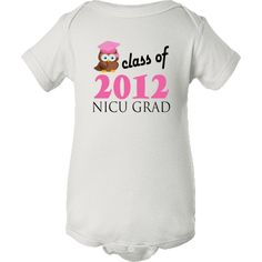 Cute design for the NICU graduate baby in 2012 has class of 2012 owl in grad cap on this Personalized White Infant Creeper.  Similar to our Gerber Onesies.  5.0 oz. 100% combed ringspun cotton 1x1 baby rib. Flatlock seams. Double-needle ribbed binding on neck, shoulders, sleeves and leg opening. Reinforced three snap closure. White is sewn with 100% cotton thread.  For an even better quality, see our premium infant creepers.  Newborn, 6, 12, 18, 24 months. $10.99