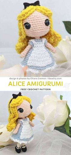 Alice Amigurumi Free Crochet Pattern We all know Alice from Wonderland, right? Now you can keep her in your pocket – a great companion for your adventurous life! Crochet Disney, Doll Patterns Free, Crochet Amigurumi Free Patterns, Softies, Doll Amigurumi Free Pattern, Amigurumi Toys, Cute Crochet, Beautiful Crochet, Diy Crochet Toys