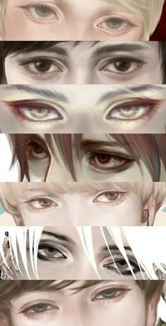 Eye shapes of anime boys and men - drawing reference Digital Painting Tutorials, Art Tutorials, Manga Art, Anime Art, Character Art, Character Design, Anime Eyes, Drawing Techniques, Painting & Drawing