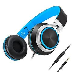 AILIHEN C8 Foldable Headphones with Microphone and Volume Control Lightweight Stereo Headsets for 3.5mm Android Cellphones Smartphones iPhone Laptop Computer Mp3(Black/Blue)