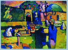 Wassily Kandinsky; Arabischer Friedhof, 1909. Öl auf Pappe, 71,5 x 98 cm;