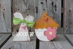 Easter Chick and Bunny Unfinished DIY Wood Kit Spring holiday seasonal home decor