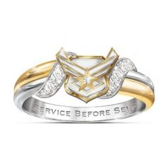 Solid sterling ring has one silver and one 18K gold-plated band plus 4 pavé set diamonds, the Air Force emblem and engraved motto. Gift box.