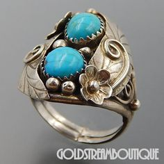 NATIVE AMERICAN VINTAGE NAVAJO STERLING SILVER TURQUOISE FEATHERS FLOWERS WIDE RING SIZE 10.75