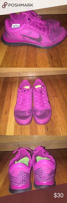 Nike Free 3.0, size 9.5 Nike Free 3.0. Very comfortable and great for running or everyday attire. They are purple with black triangles for decoration. They are in great condition! Nike Shoes Athletic Shoes