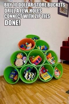 Creative way to store toys in play room.