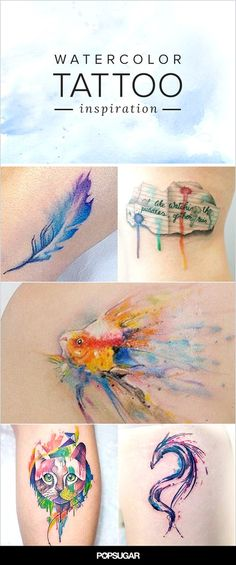 Unleash Your Creativity With These Watercolor Tattoo Ideas - It seems like the majority of popular tattoo styles these days only come in one color — black. Nature Tattoos, Body Art Tattoos, New Tattoos, Tatoos, Bird Tattoos, Butterfly Tattoos, Sister Tattoos, Feather Tattoos, Wrist Tattoos